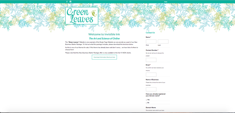 single-page-website-green-leaves